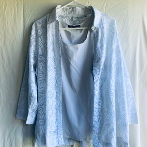 2pc white 3/4 length sleeve with tank